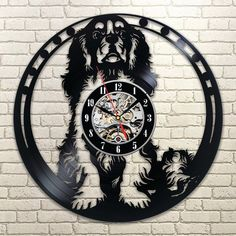1 Piece Cavalier King Charles Spaniel Dog House Art Pet Puppy Animal Creative Vinyl Record Wall Clock Wall Decor