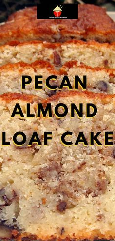Moist Pecan Almond Loaf Cake. The flavor combo is just divine! Almond Coconut Cake, Almond Tart Recipe, Coconut Pound Cakes, Almond Cakes, Tart Recipes, Best Dessert Recipes, Easy Desserts, Sweet Recipes, Delicious Desserts