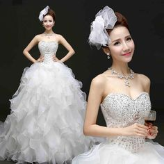2015 New Arrival Ball Gown Wedding Dresses Sweetheart Lace Up Ruffles Organza Floor Length With Beaded Crystal Prom Gowns from Cawsky,$97.39 | DHgate.com