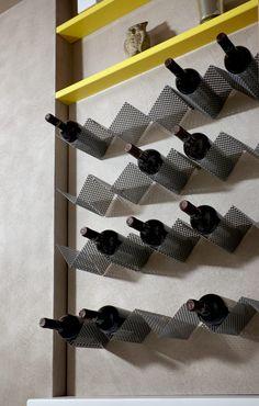 Wine display and restyling by Marco Olivo Architect Wine Glass Rack, Wine Rack Wall, Wine Wall, Wine Shelves, Wine Storage, Wine Cellar Basement, Wine Cellar Design, Drink Bar, Wine Display