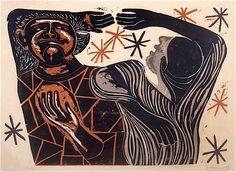 Dancers II - William Wolff - color woodcut