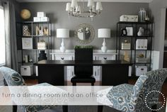 Duo Ventures: Turning a Dining Room into an Office: Part 2. Gorgeous.  Paint:  Behr, Creek Bend. Panels from Target.  Threshold Basketweave Curtain Panels in gray.  http://www.target.com/p/threshold-basketweave-curtain-panel/-/A-13647071#prodSlot=medium_1_3  .........chairs from HomeGoods as well as lamps and mirror.