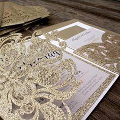 Glitter tri-fold laser cut wedding invitations glitter pockets