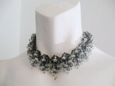 Vintage Glass Bead Choker Grey & Clear by ErmaJewelsVintage, $75.00