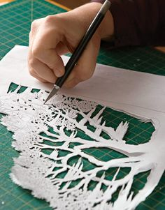 "Pamela Dalton, Paper Artisan - Country Living article. ""Cutting the Paper. An X-Acto knife is now a principal tool, for it provides flexibility and precision. ""I use hundreds of blades a year,"" says Dalton. Pinned by www.mygrowingtraditions.com"