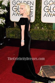 3230946e6f02 Lady Gaga Black Velvet Formal Dress golden globes 2016 Red Carpet Gown  TCD6496