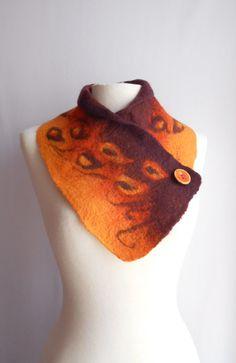 Felt scarf Felted scarf Felted neck warmer Wool felt by woolNsilk