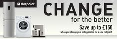 Hotpoint Change For The Better! If you have an ineffcient, old appliance there are many reasons to choose a new Hotpoint, and at Sonicdirect if you purchase selected Hotpoint models between 10th April – 28th May 2014 you could receive upto £150 cashback. At Sonic Direct we have a huge range of the latest Hotpoint models with the latest technology from hand blenders, vacuums, freezers, cookers, washing machines and many more all at electrically unbeatable prices.