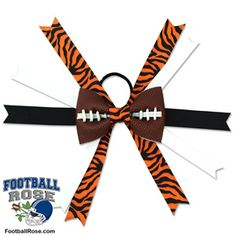 Handmade Football Hair Bow made from real football leather with Orange and Black Tiger Print ribbon accents inspired by Cincinnati football Football Hair Bows, Football Team, Different Font Styles, Black Tigers, Team Mom, Elastic Hair Ties, Printed Ribbon, Making Hair Bows, Easy Sewing Projects