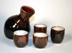 Handmade stoneware sake set