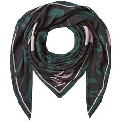 McQ Alexander McQueen Printed Scarf ($125) ❤ liked on Polyvore featuring accessories, scarves, green, green shawl, green scarves and mcq by alexander mcqueen