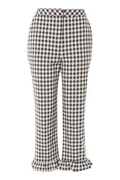 b2330466bbbb4 Gingham Frill Hem Trousers - Pants   Leggings - Clothing