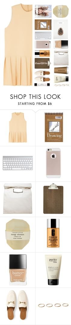 """""""oh, tell me something I don't already know (goιng on вreaĸ)"""" by solastamel ❤ liked on Polyvore featuring Limi Feu, ferm LIVING, Pelle, Clinique, Butter London, philosophy and Gucci"""