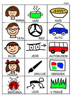 Pro Šíšu: Skladame jednoduche vety Speech Therapy, Writing Tips, Montessori, Activities For Kids, Album, Teaching, Education, Comics, Logos