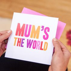 Mum's The World Mother's Day Card by mrs L cards, the perfect gift for Explore more unique gifts in our curated marketplace. World Mother's Day, Mums The Word, Pink Envelopes, Bold Typography, Red Poppies, Bright Pink, Unique Gifts, Poppy Red, Words