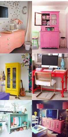 decoração com móveis coloridos Retro Furniture, Refurbished Furniture, Repurposed Furniture, Home Decor Furniture, Furniture Makeover, Painted Furniture, Diy Home Decor, Colorful Furniture, Kitchen Furniture