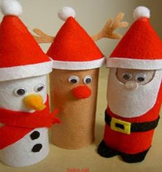 Christmas toilet paper rolls craft! How cute!!! / reutilizando rollos de papel higiénico