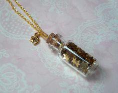 Ketten lang - Goldkette Golden Stars Vintage Glasfläschchen - ein Designerstück von MiMaKaefer bei DaWanda