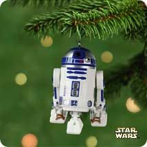 R2-D2 is flying solo in this entry in the Star Wars ornament series.  But you can make him make his familiar sound.