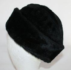 Vintage Hat Men's Black Faux Fur Winter Hat by ilovevintagestuff