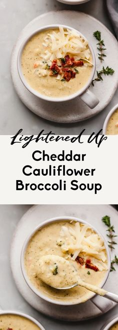 Deliciously creamy lightened up cheddar cauliflower broccoli soup packed with veggies and incredible, cheesy flavor! This low carb, healthy broccoli cheddar soup recipe is comfort food at its finest. #broccoli #soup #vegetarian #cauliflower #healthylunch #healthydinner Broccoli Soup, Broccoli Cheddar, Healthy Soup Recipes, Vegetarian Recipes, Kitchen Recipes, Cooking Recipes, Soup Kitchen, Healthy Comfort Food, Healthy Eats