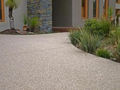 View 'Exposed Aggregate' Concreters Photo by Solid Concrete Services Melbourne VIC. Exposed Aggregate Driveway, Concrete Driveways, Exposed Concrete, Concrete Patio, Walkways, Outdoor Landscaping, Front Yard Landscaping, Landscaping Ideas, Landscape Design