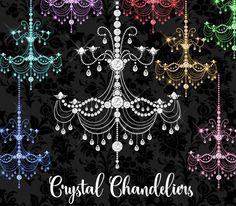 Crystal Chandeliers Clipart by Origins Digital Curio on @creativemarket
