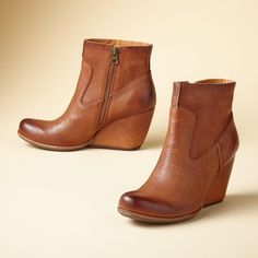 """MICHELLE SEMI WEDGE BOOTS--Kork-Ease® introduces the semi-wedge in the perfect height to dress up or down with rich, pebbled leather. Whole and half sizes 6 to 10. 3"""" heel."""