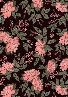 Wild Roses - Black by PaperBox Prints Witchy Wallpaper, Pop Art Wallpaper, Cute Wallpaper Backgrounds, Flower Wallpaper, Pattern Wallpaper, Cute Wallpapers, Surface Pattern Design, Pattern Art, Apple Watch Wallpaper
