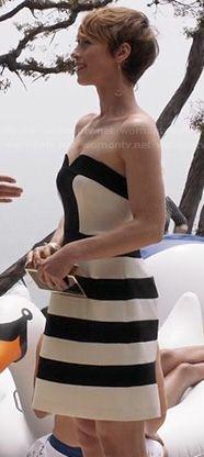 Margaux's black and white striped strapless dress on Revenge.  Outfit Details: http://wornontv.net/20597/ #Revenge #ABC