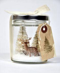 Reindeer Snowglobe winter scene cloche assemblage