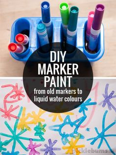 DIY Marker Paint - from old dried up markers to liquid water colour paints! This looks like so much fun! Fun Crafts, Diy And Crafts, Crafts For Kids, Arts And Crafts, Toddler Crafts, Painting Activities, Craft Activities, Preschool Projects, Activity Ideas