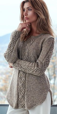 Knitting Pattern for Oydis Sweater - A shadow diamond cable dominates this A-lin. Knitting Pattern for Oydis Sweater - A shadow diamond cable dominates this A-line sweater with a curved flattering hem, . Aran Knitting Patterns, Cable Knitting, Knitting Designs, Knitting Stitches, Knit Patterns, Vogue Knitting, Knitting Tutorials, Free Knitting, Stitch Patterns