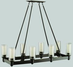 "0-018121>37""""w Circolo 8-Light Kitchen Island/Pool Table Fixture Olde Bronze"