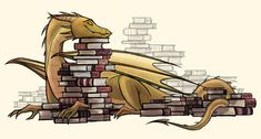 Dragons protect their treasure. Well, I also protect mine. So, obviously, I'm a dragon. Magical Creatures, Fantasy Creatures, Art And Illustration, Cute Dragons, Dragon Art, Dragon Book, Book Nerd, Dungeons And Dragons, Book Worms