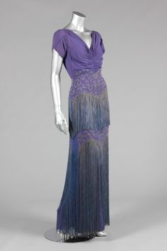 Evening dress, rayon and silk, with lots of fringe, Mainbocher designer, American, 1936-38