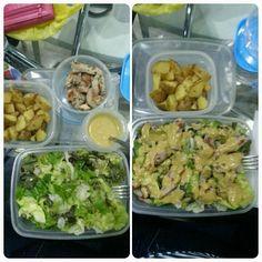 Papas salteadas con tomillo y ensalada cesar ligera / Sauteed potatoes with thyme and light caesar salad