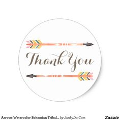 Arrows Watercolor Bohemian Tribal Hand Painted Classic Round Sticker March 3 2017 #junkydotcom #zazzle  12x
