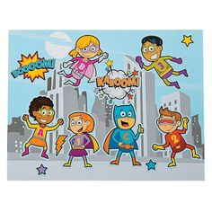 Build-A-Superhero Scene Stickers. Fun party activity. $5.25 per dozen. http://www.partypalooza.com/Merchant2/merchant.mvc?Screen=PROD&Product_Code=BuildSuperheroStickers