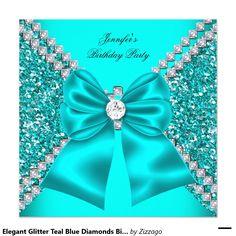 Shop Elegant Glitter Teal Blue Diamonds Birthday 2 Invitation created by Zizzago. Fancy Wedding Invitations, Bling Wallpaper, Cute Patterns Wallpaper, Blue Diamonds, Teal Blue, Glitter, Colours, Elegant, Decoration