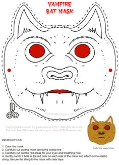 Vampire Mask Printable. More Halloween fun at www.IMHalloween.com
