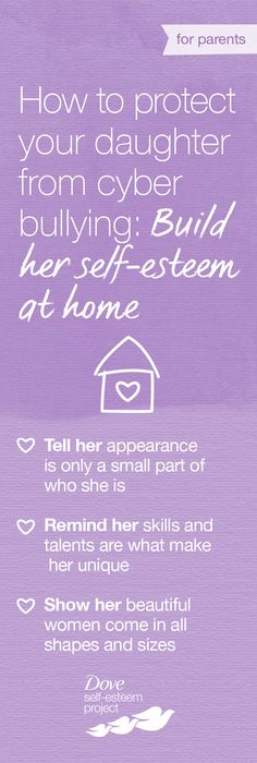 Your daughter's online life can impact her self-esteem and unfortunately, it's not always a positive influence. Young girls often feel anxious about their changing appearance and social media can provide another platform for bullies to make hurtful comments. You can help prevent these negative effects by building your daughter's confidence at home. Tell her what truly makes her beautiful, beyond her appearance. #SelfEsteemProject