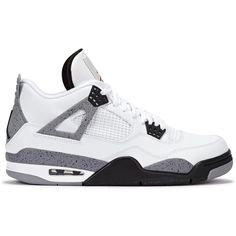 bb0caefd6493 Fresh Laces Air Jordan 4 Retro white leather trainers ( 510) ❤ liked on  Polyvore featuring men s fashion