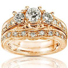 Annello by Kobelli 14k Gold 1ct Round Brilliant Diamond Bridal Set (H-I, I1-I2) (Rose - Size 8.5), Women's, White H-I