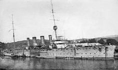 The light cruiser HMAS Sydney (1912) in 1915. In November 1914, it engaged and defeated the German cruiser Emden off the Cocos Islands