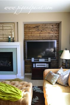 Plank wall idea for the niche next to the fireplace.