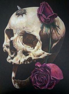 by Jerry Chacon Crane, Memento Mori Art, Grim Reaper Art, Day Of The Dead Skull, Dark Paradise, Flower Skull, Cool Sketches, Monster Art, Vanitas