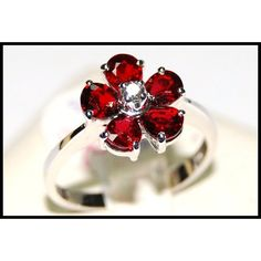 Flower Ruby Ring and Diamond Unique 18K White Gold by BKGjewels