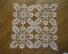 Handmade Ecru/Tan Tatted Lace Doily