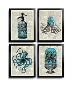 Octopus Art Print Set of 4 Prints Squid Gift Set Bathroom Wall